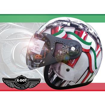 GracShaw 【X-DOT G-CLASSIC國際精品安全帽】馬來西亞第一品牌、復古飛行帽、義大利設計(A款 L)