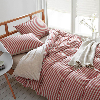 【Betrise】裸睡主意-雙人純棉針織四件式被套床包組(草莓甜心)