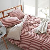 【Betrise】裸睡主意-加大純棉針織四件式被套床包組(草莓甜心)