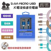 《AndyMay2》AMS-302 MICRO USB 小惡魔2.4A大電流快速充電傳輸線(藍色)