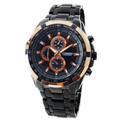 【CURREN】時尚潮流款豪邁霸氣仿三眼計時造型腕錶-黑 FFQ-8023(黑)