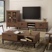 《日本直人木業》Industry 210CM 電視櫃加玻璃展示櫃