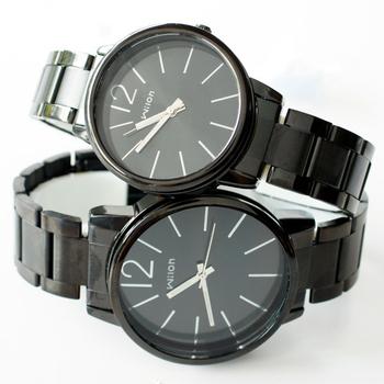 Wilon 威龍 937激似CK款 玻璃夾心黑色鐵帶中性對錶款