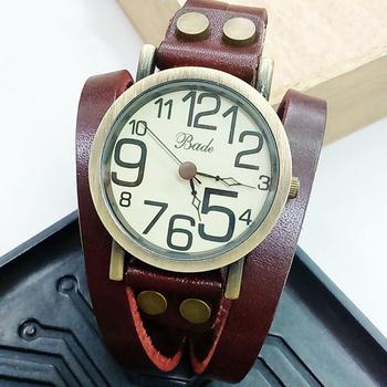 BADE BDL-388 韓版圓鉚雙圈纏繞皮質手環式腕錶(酒紅)