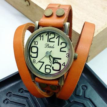 BADE BDL-388 韓版圓鉚雙圈纏繞皮質手環式腕錶(橘色)