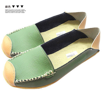Alice韓系館 【零碼】經典簡約兩穿真皮鞋(綠36)