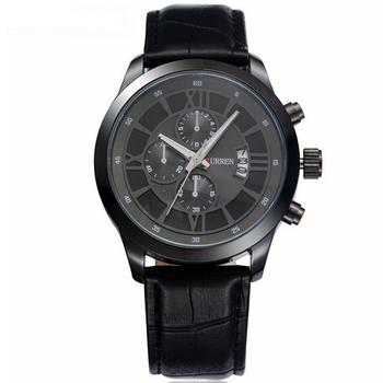 CURREN卡瑞恩 8137 經典獨特仿三眼日期顯示型男皮帶男錶(黑帶黑框)