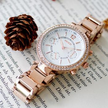 KEZZI珂紫 KW-1188花漾鑽框仿三眼亮金屬石英女錶(玫瑰金)