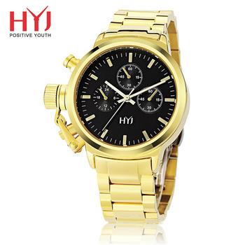 HYJ HW-592古典風情仿三眼大錶盤石英女錶(金色)