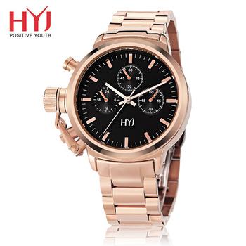 HYJ HW-592古典風情仿三眼大錶盤石英女錶(玫瑰金)