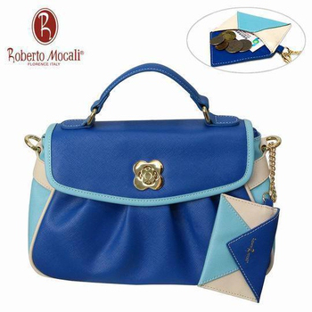 義大利Roberto Mocali 義大利Roberto Mocali藍色抓皺手提肩背女包(送零錢包) RM-58103