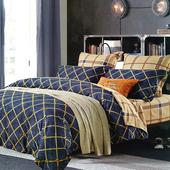 《Indian》誘藍格調 雙人四件式純綿兩用被床包組