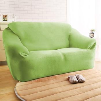 HomeBeauty 頂級柔暖法蘭絨沙發罩-2人座(共八色)(青草綠)