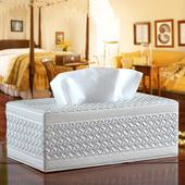 《幸福揚邑》精品編織格紋皮革 磁吸式收納面紙盒/紙巾盒(經典白)