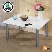 《BuyJM》鏡面白低甲醛鐵腳茶几桌/和室桌(80*60公分)(白色)