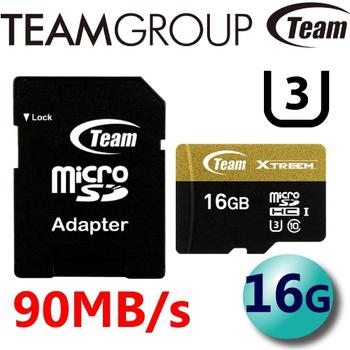 TEAM 十銓 Xtreem 90MB/s microSDHC UHS-I U3 C10 高速記憶卡 16G
