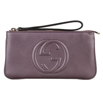 GUCCI SOHO系列皮革手拿包(香檳紫)