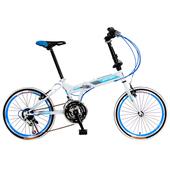 《WANMA》W168 時尚炫彩 20吋21速 搭配彩色外胎 折疊車(DIY版)(白藍)