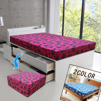 KOTAS 珊瑚絨2折彈簧床-單人3尺(桃紅色)