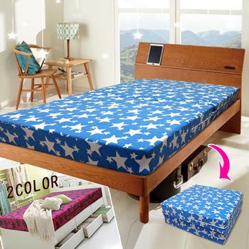 KOTAS 珊瑚絨2折彈簧床-單人3尺(水藍色)