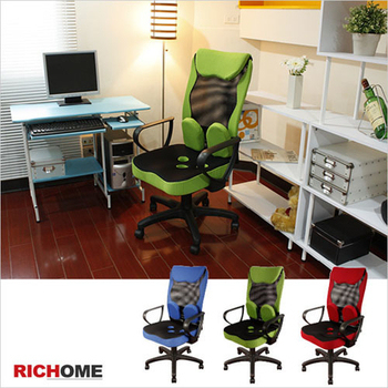 RICHOME 泰德護腰厚綿機能型辦公椅(3色)(綠色)