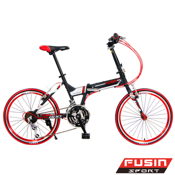 FUSIN FA800 鋁合金 20吋24速 451陽極輪圈搭配建大外胎折疊車(黑紅)