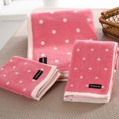 《MORINO摩力諾》美國棉圓點浴巾1入(粉紅)