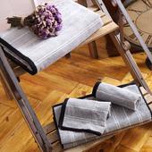 《MORINO摩力諾》美國棉前漂色紗條紋毛巾1入(時尚灰)