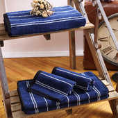 《MORINO摩力諾》美國棉前漂色紗條紋毛巾1入(深海藍)