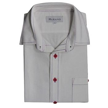 《MURANO》男款休閒牛津長袖襯衫 - 素白(L)