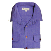 《MURANO》男款休閒牛津長袖襯衫 - 中藍(L)
