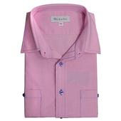男款休閒牛津長袖襯衫 - 粉紅