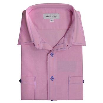 《MURANO》男款休閒牛津長袖襯衫 - 粉紅(L)