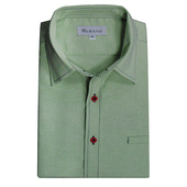 男款休閒牛津長袖襯衫 - 淡綠