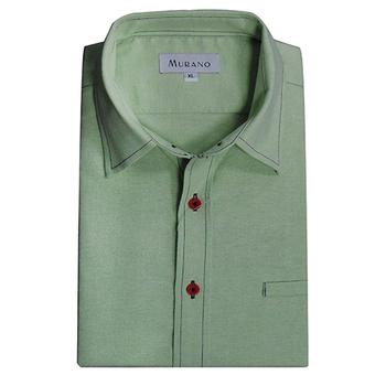 《MURANO》男款休閒牛津長袖襯衫 - 淡綠(L)