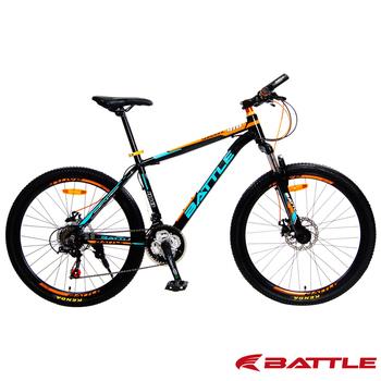 BATTLE 征服者 BMA-600 升級版 26吋 Shimano 21速鋁合金登山車(黑橘藍)