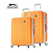 《英國 Slazenger 史萊辛格》24+28吋 珠光橫條紋行李箱/拉桿箱(陽光橘)