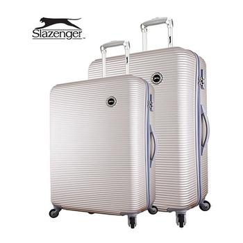 《英國 Slazenger 史萊辛格》24+28吋 珠光橫條紋行李箱/拉桿箱(舊金山金)