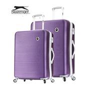 《英國 Slazenger 史萊辛格》24+28吋 珠光橫條紋行李箱/拉桿箱(薔薇紫)