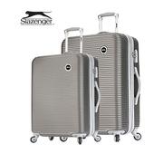 《英國 Slazenger 史萊辛格》24+28吋 珠光橫條紋行李箱/拉桿箱(紳士灰)