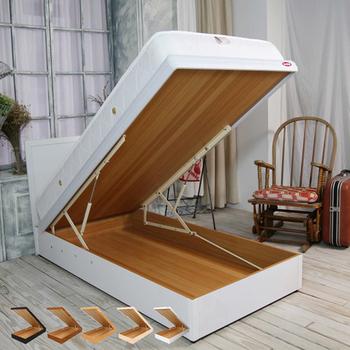 《時尚屋》格頓3尺寬版尾掀床+安全扣(烤白色)