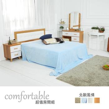 ★結帳現折★時尚屋 貝絲北歐床片型3件房間組-床片+掀床+床頭櫃1個(白色抽屜)