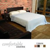 《時尚屋》喬伊絲床片型4件房間組-床片+床底+床頭櫃+床墊(胡桃色)