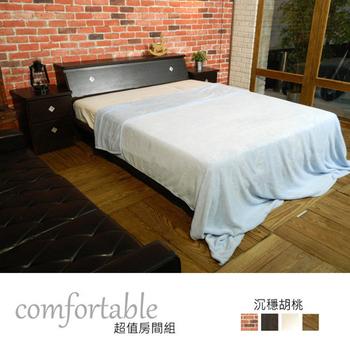 《時尚屋》喬伊絲床箱型4件房間組-床箱+床底+床頭櫃+床墊(胡桃色)