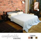 《時尚屋》維隆床箱型4件房間組-床箱+床底+床頭櫃+鏡台(胡桃色)