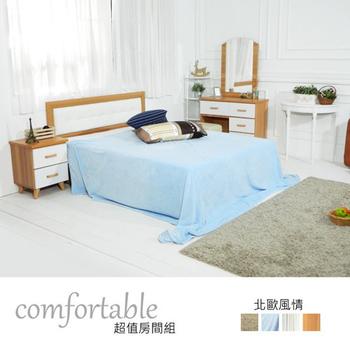 ★結帳現折★時尚屋 貝絲北歐床片型3件房間組-床片+掀床+床頭櫃2個(白色抽屜)