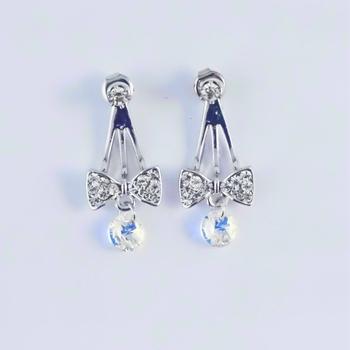 S.S享新 耳針垂吊鑽飾蝴蝶結造型+司華洛水晶鋼針耳環(白鑽)