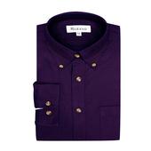 《MURANO》男款原色燈芯絨長袖襯衫 - 深紫(L)