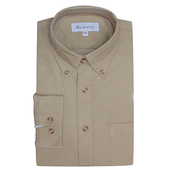 《MURANO》男款原色燈芯絨長袖襯衫 - 卡其(L)