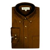 《MURANO》男款原色燈芯絨長袖襯衫 - 深棕(L)